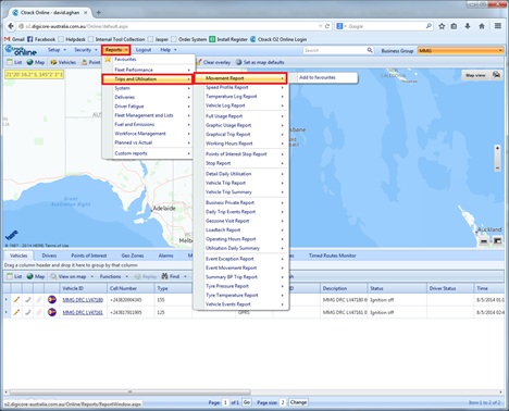 Running Movement Reports allows DigiCore Australia's clients to track the movement of their vehicles.
